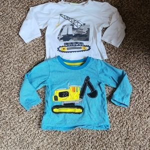 2 Baby Boys Long Sleeve Tee Construction Bundle